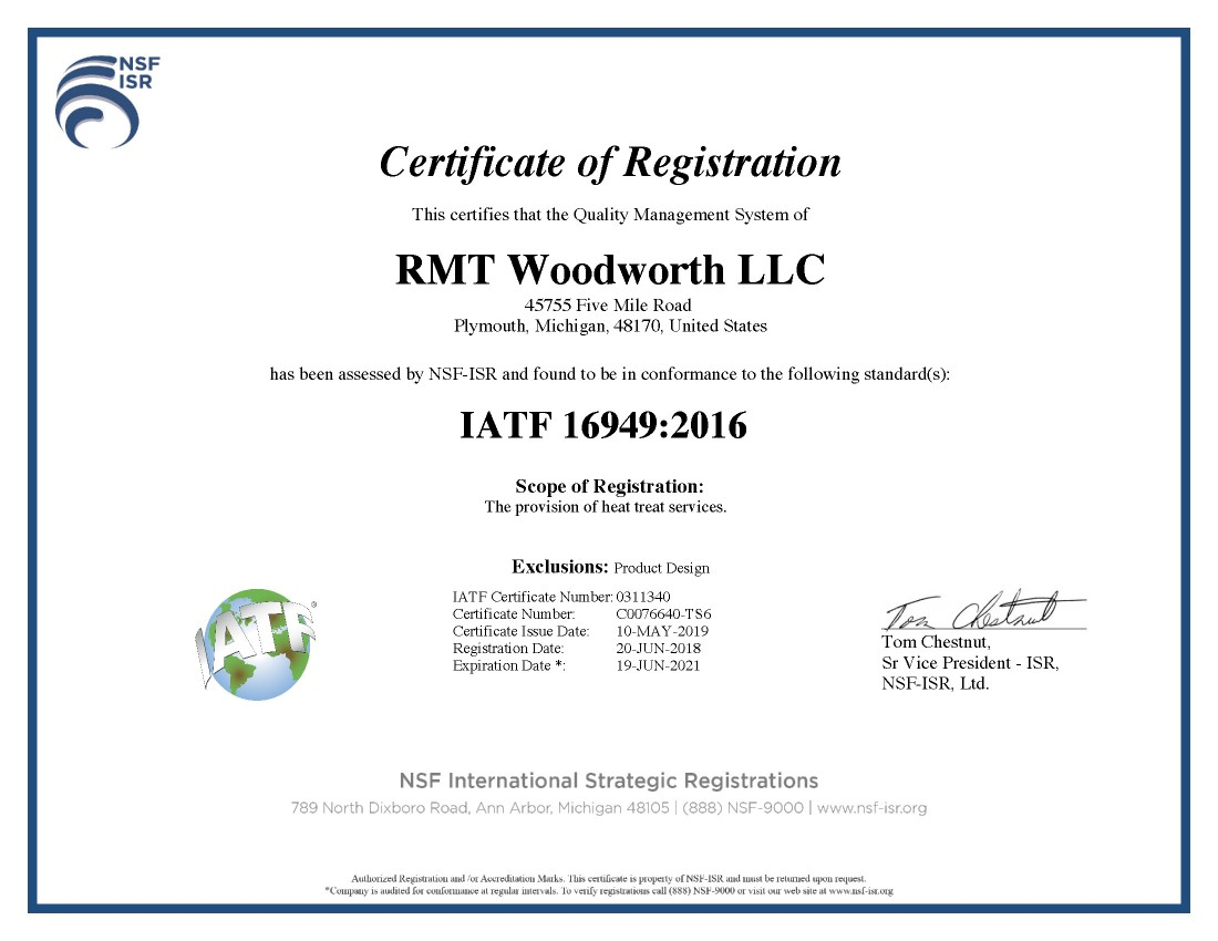 Experienced Heat Treatment Team: Over 50 Years of Expertise | RMT Woodworth - RMT_IATF_16949_Certification